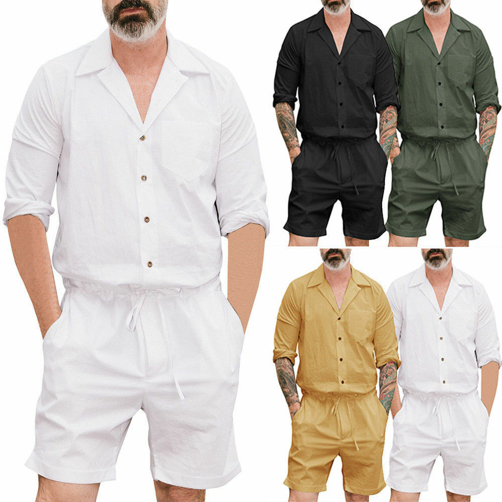2019 HOT SALE Casual V-neck Short Sleeve Summer Men's One Piece Rompers Short Sleeve Street Casual Cargo Pants Jumpsuit Overalls