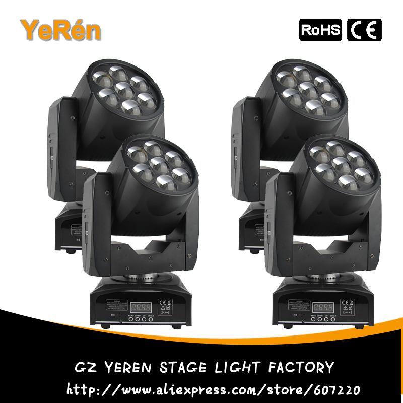 (4 PCS) Zoom Led Faisceau Wash Moving Head Light 7 PCS RGBW Quad-Couleur Led Lampe DJ Led Effet Lumière DJ Disco Lumière