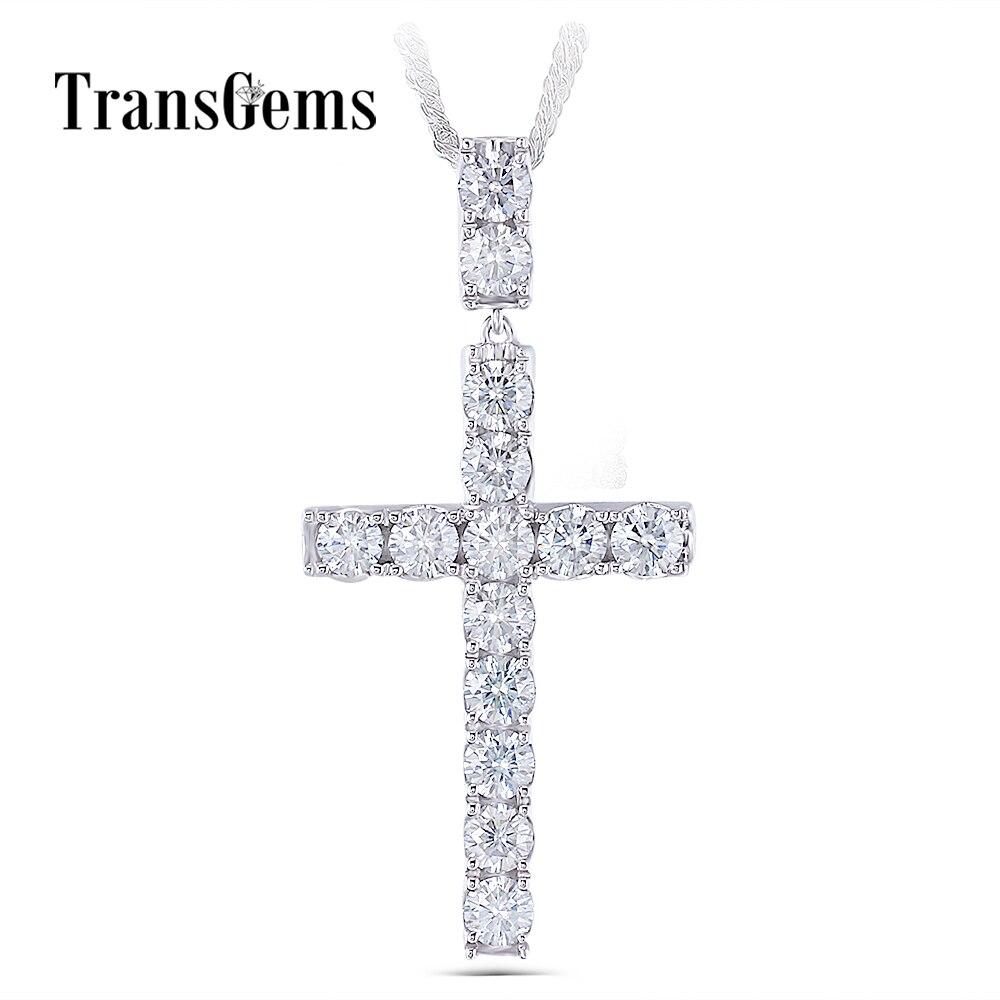 Transgems Платиновое покрытие серебряный крест кулон ожерелье для мужчин 3.5CTW 4 мм легкий серый Муассанит Diaond Стерлинговое Серебро