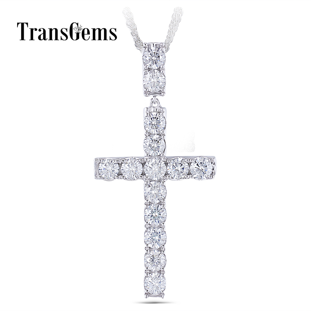 Transgems Platinum Plated Silver Cross Pendant Necklace for Men 3.5CTW 4mm Slight Gray Moissanite Diaond Sterling Silver