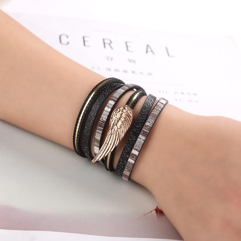 Multi Layer Wing Alloy Magnetic Buckle Bracelet Hand Made Braided Popular Charm Leather Bracelets Bangles for Unisex