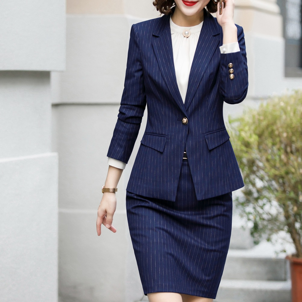Skirt Suit Office Clothes 4XL Plus Size 2 Piece Set Blue Stripe Jacket Skirt Costume Interview Host Career Lady Work Suit 622