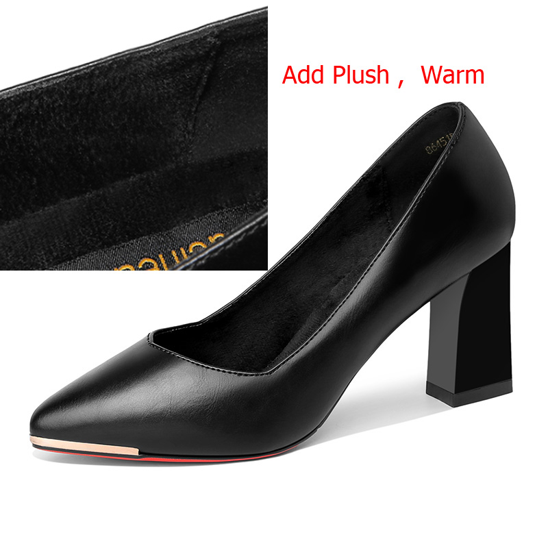 97b9790197 Guciheaven Shallow Pumps Women Dress Shoes Office High Heels 7.5cm Pointed  Toe Red Sole Add Short Plush Warm Inside Shoes Autumn