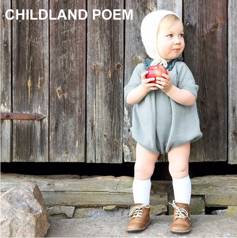 2017 Spring Winter Cute Princess Baby Romper Newborn Baby Clothes Kids Girls Boys Long Sleeve Jumpsuit Infant Knitted Rompers 2017 spring newborn rompers baby boys girls clothes long sleeve cute cartoon face cotton infant jumpsuit queen ropa bebes 0 24m