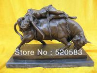 classical Retro bronze art sculpture a nude women cord bind on bull ox statue