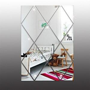 13 unids/set moderno rombo espejo Adhesivo de pared para el fondo de la TV del baño respetuoso con el medio ambiente PS calcomanía decoración del hogar papel tapiz adhesivo