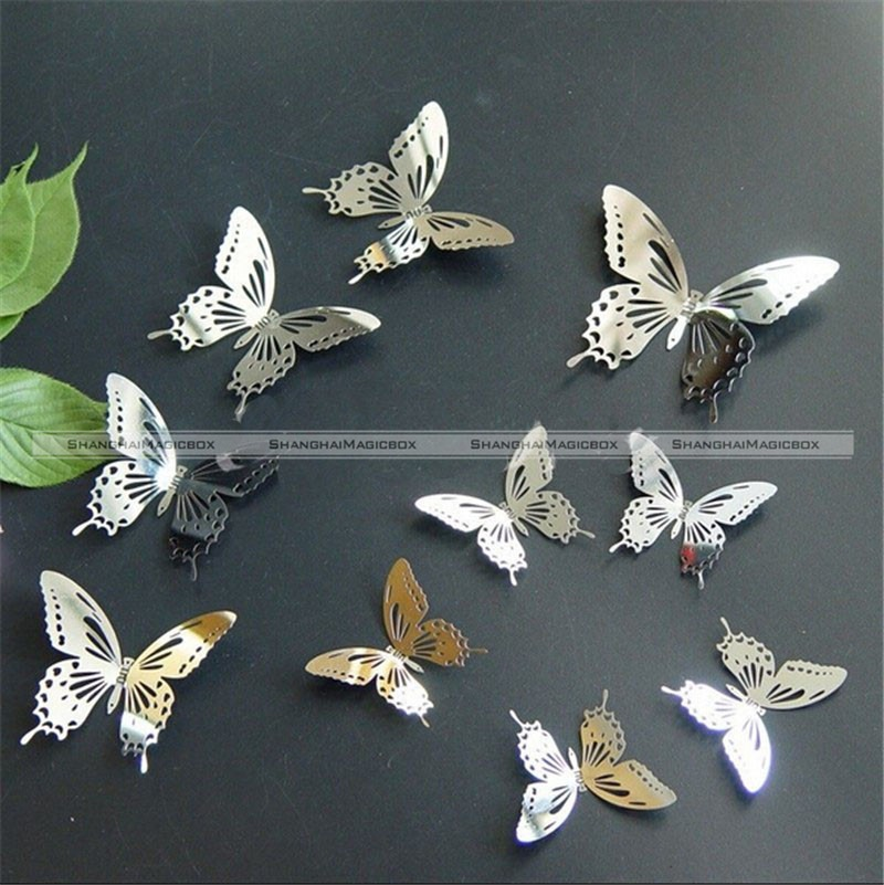 10pcs 3D Butterfly Wall Decor Art Mirror Wall Sticker Stainless Butterfly Art 40314007