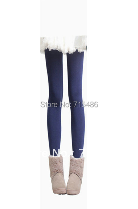 Free Shipping Deep Blue Lady Bright Velvet Winter Legging Women Leggings Winter Women Warm Pants