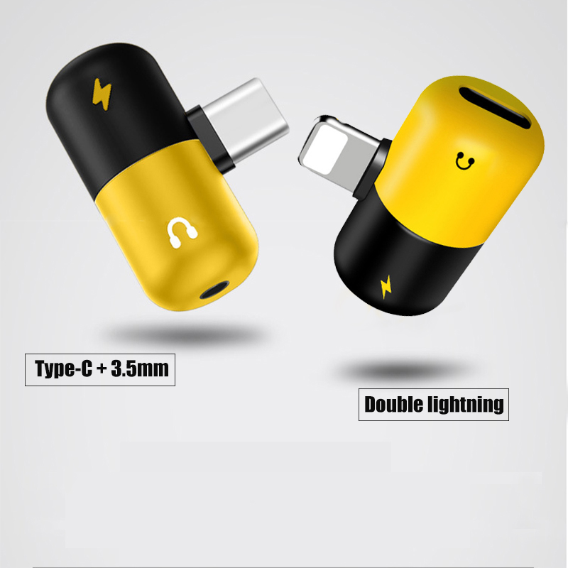 Image 3 - Cute capsule multi function adapter music + charging 2 in 1 Type C 3.5mm lightning double lightning for iPhone7/8/x Android-in Type-C Adapter from Consumer Electronics