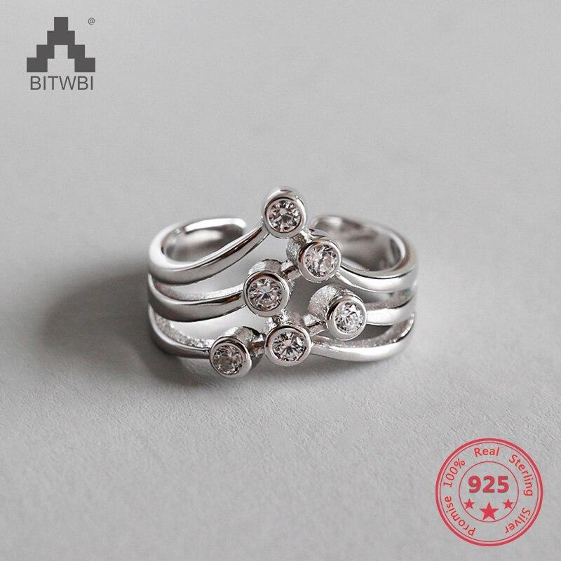 100% 925 Sterling Silber Zirkon Hohl Sterne Ringe Für Frauen Silber 925 Schmuck Anillos Elegant Im Stil