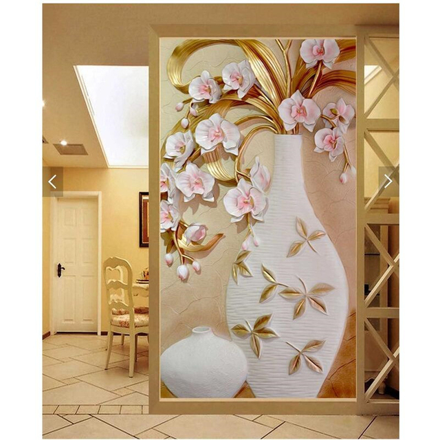 painting 3d european style marble vases plum restaurant hotel murals home decor modern art wall - Marble Restaurant Decor