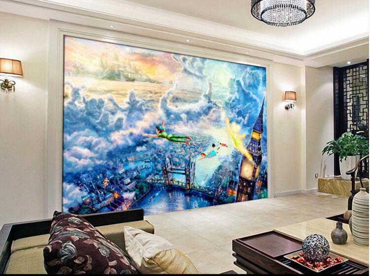3d Wallpaper Custom Mural Non Woven 3d Room Wall Sticker A Fairy Tale Peter  Pan Of Oil Painting Photo 3d Wall Mural Wallpaper In Wallpapers From Home  ...