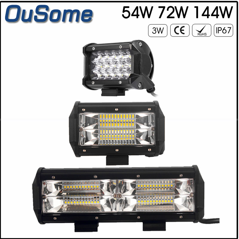 2 pieces 5 54W 5.5 72W 8.5 144W high power IP67 waterproof 6000K white 10-30V DC offroad car led work light 12v 24v waterproof 72w 4300lm 6000k 24 led white light car work project diy light bar dc 10 30v