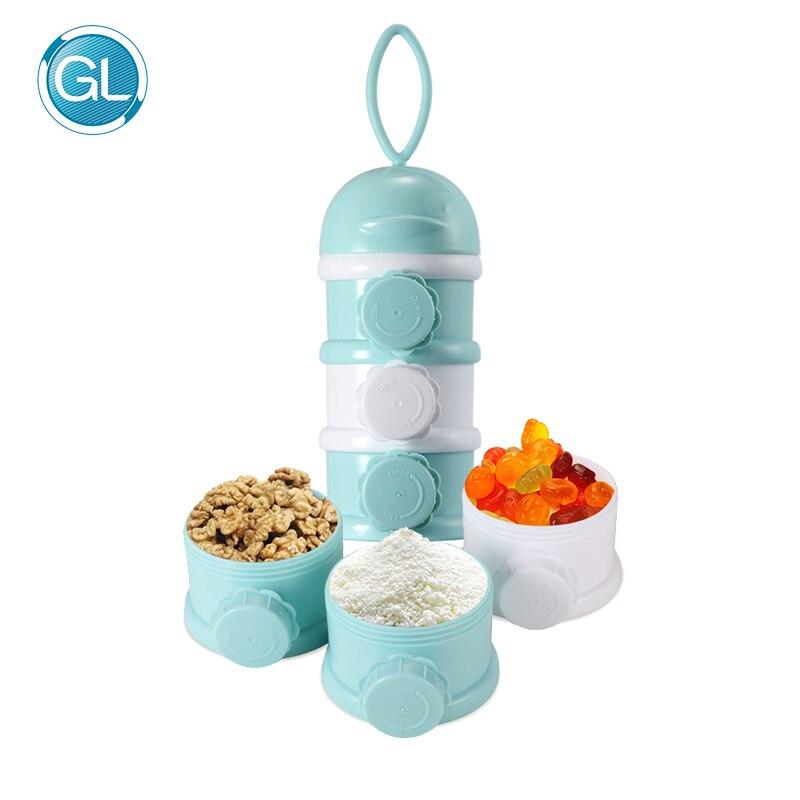 GL bebé de almacenamiento de alimentos tres colores fórmula leche niño tres rejilla bebé recién nacido portátil caja de almacenamiento de alimentos productos enlatados