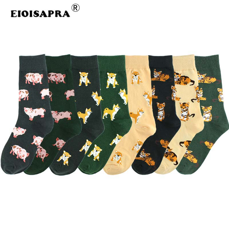 Happy Socks Women Cute Pet Shiba Inu Pig Cat Women Socks Korean Style Women Casual Kawaii Cartoon Combed Cotton Cute Socks