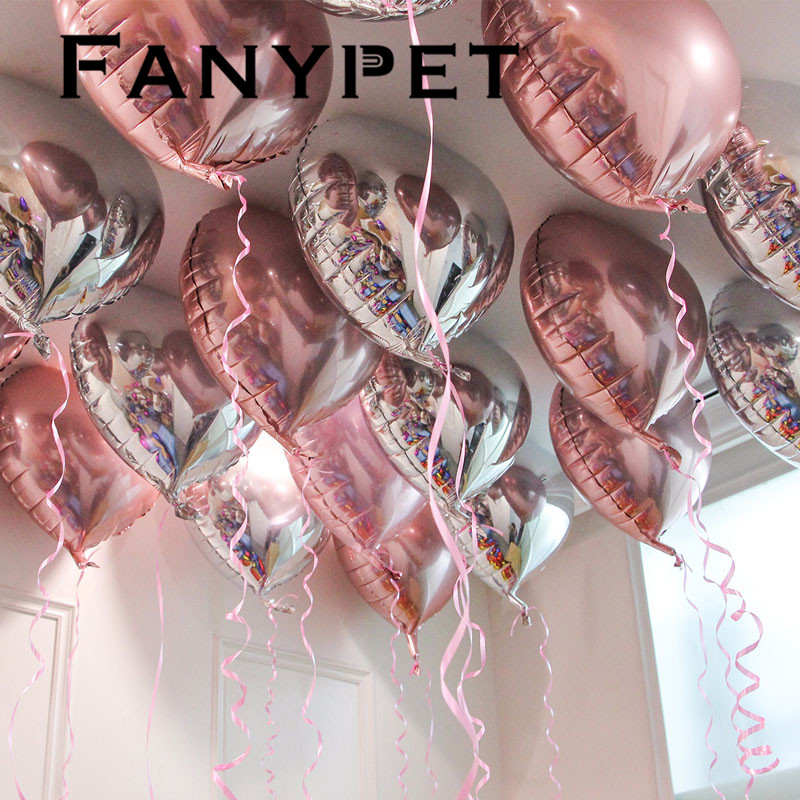 <font><b>100pcs</b></font> 18inch Red Rose gold Pink heart <font><b>foil</b></font> balloons Wedding Decoration Marrige Valentine's Party Helium Love Heart <font><b>Ballon</b></font> Gifts image