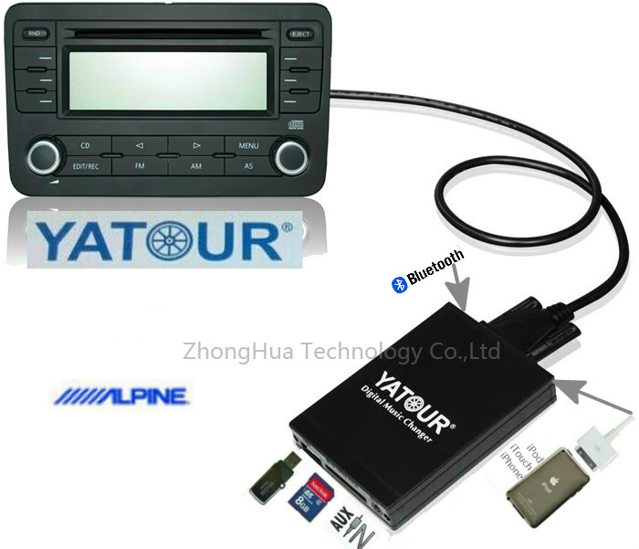 Yatour YTM07 Muusic Digital Car CD changer USB SD AUX Bluetooth  ipod iphone  interface for Alpine AI-NET MP3 Player Adapter car mp3 interface usb sd aux digital music changer for lancia thesis 2002 2008 fits select oem radios