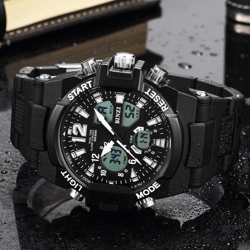 Двойной дисплей спортивные часы для мужчин лучший бренд класса люкс цифровой кварцевые наручные Военная Униформа G ударостойкие часы Relogio ...