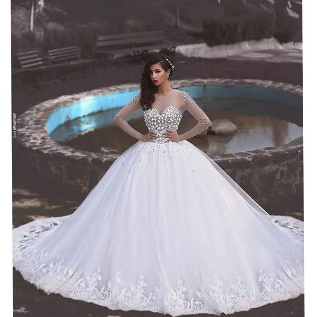 Vestido De Noiva Full Beading Long Sleeves Luxury Wedding Dress Arabic Wedding Dress