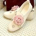 2017 New Design Women Fashion Genuine Leather Flats Rhinestone Flower Pedal Flat Shoes Handmade White Flats