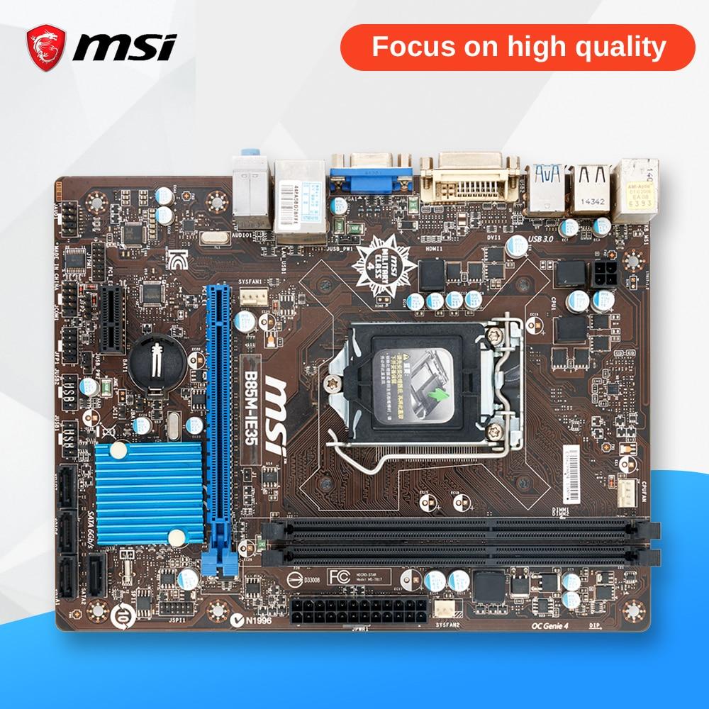 MSI B85M-IE35 Desktop Motherboard B85 Socket LGA 1150 i3 i5 i7 DDR3 16G SATA3 USB3.0 Micro-ATX asus b85m v5 plus desktop motherboard b85 socket lga 1150 i7 i5 i3 ddr3 16g sata3 micro atx