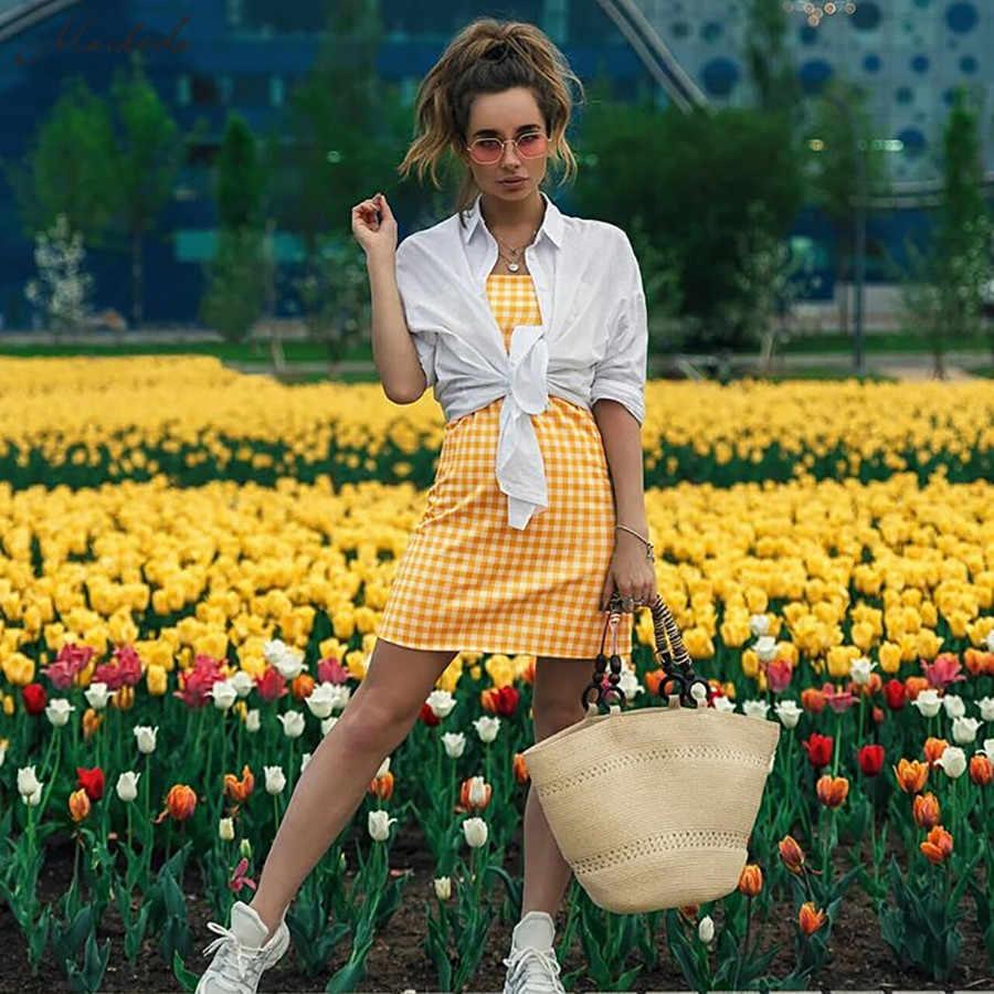 Macheda Новое женское клетчатое модное летнее тонкое короткое платье мини на тонких бретелях повседневный наряд