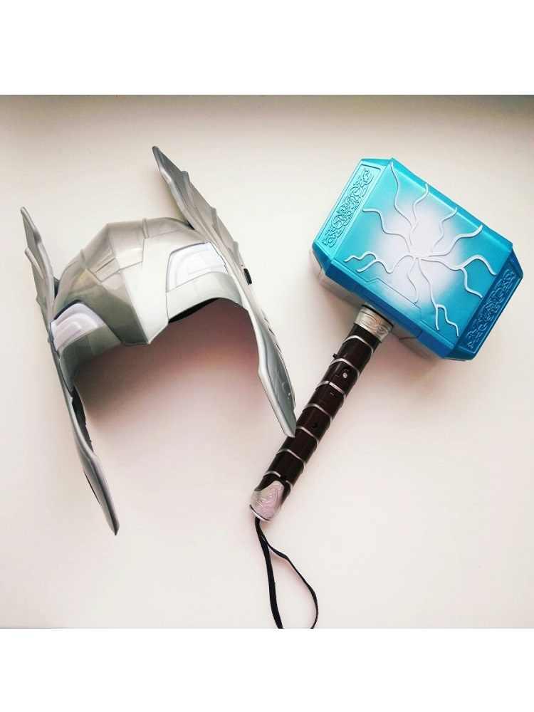 Vingadores aliança série pvc cosplay adereços thor martelo máscara luminosa thor martelo 28cm halloween mostrar presente adereços armas modelo