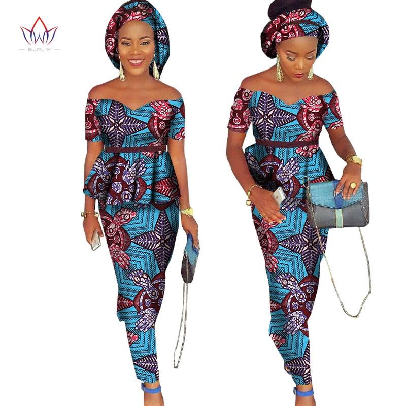 African Bazin Riche Klänning för Kvinnor 2 Pieces Set Tops & - Nationella kläder - Foto 2
