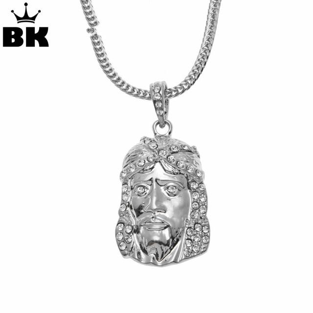 Men Hip Hop Silver Color Jesus Face Pendant 62cm Fox Chain Christian ...
