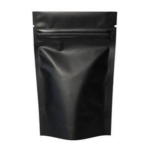 Image 2 - 100pcs di alta Qualità di Tenuta di Calore Cornici E Articoli Da Esposizione a Chiusura Lampo Sacchetti di Foglio di Alluminio Mylar Tacca di Strappo Nero Opaco Stand Up Bag commercio allingrosso