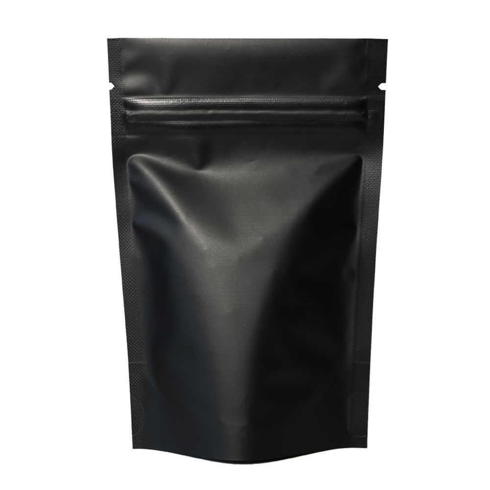 Alta qualidade 100 pçs selo de calor zip pacote de bloqueio sacos folha de alumínio mylar rasgo notch preto fosco levantam-se saco atacado