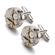 Lepton Watch Movement Cufflinks for immovable Stainless Steel Steampunk Gear Watch Mechanism Cuff links for Mens Relojes gemelos