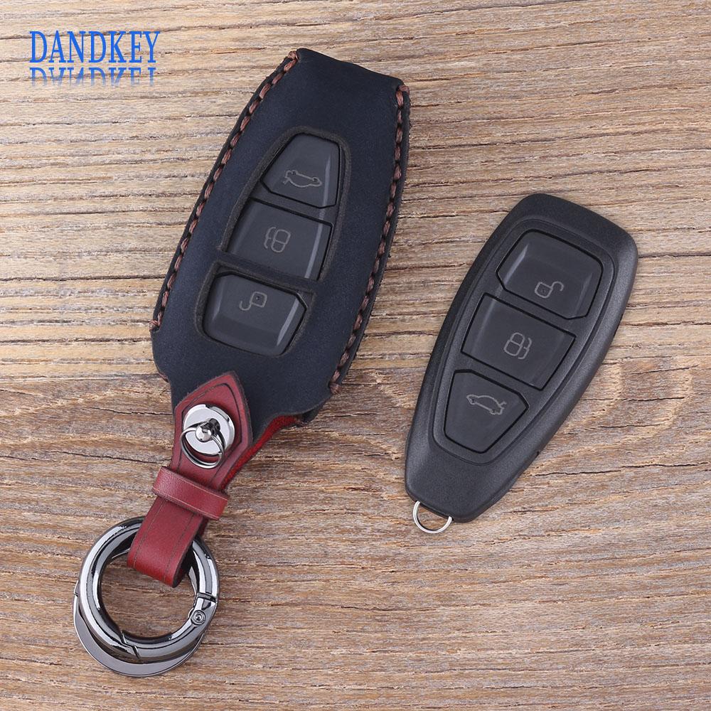 Dandkey Keychain 3 Button Leather Car Key Case Fob Key Cover For Ford Focus C-Max Mondeo Kuga Fiesta Car Key Shell smart remote key fob keyless 434 mhz 4d63 80bit remote key with emergency key fit for ford focus c max mondeo kuga fiesta b max
