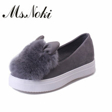 hot rabbit ears plush single shoes a pedal lazy loafers shoes casual shoes Wholesale women's singles 2016 new fashion fall shoes