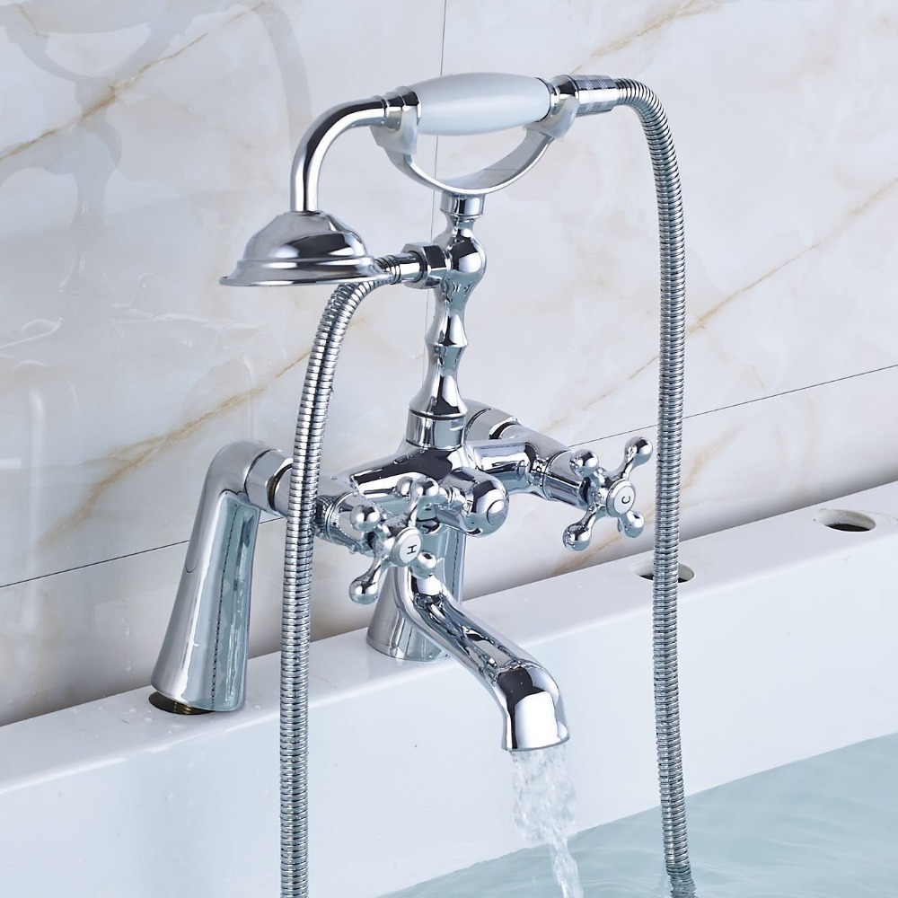 Telephone Style Deck Mounted Handshower Bathtub Faucet Dual Knob Two ...