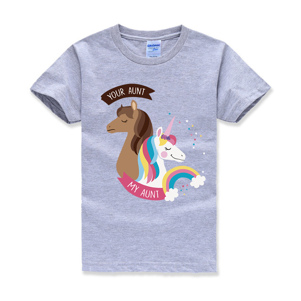 Unicorn Your Aunt My Aunt Toddler Baby Girls Short Sleeve Ruffle T-Shirt