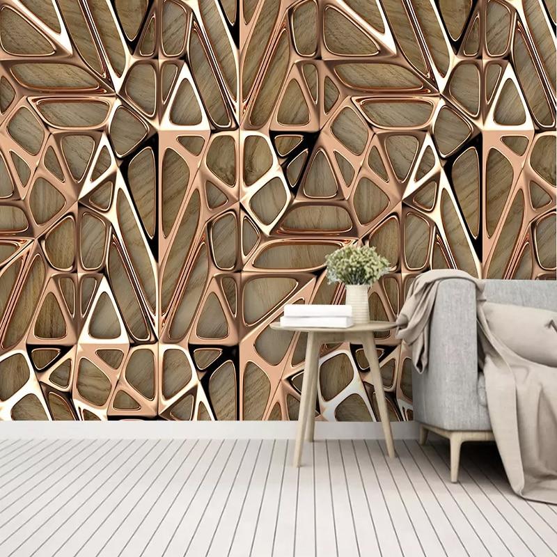 Custom Photo Wallpaper 3D Art Metallic Style Geometric Pattern Mural Living Room Bedroom Home Decor Abstract Wall Painting 3 D