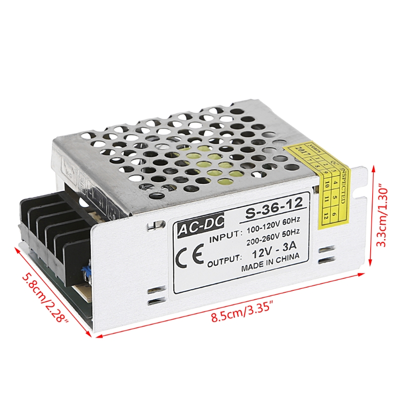 AC 100 260V To DC 12V 3A 36W Switch Power Supply Driver Adapter LED Strip Light in Lighting Transformers from Lights Lighting