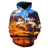 2018 New Fashion Sweatshirt Men / Women 3d Hoodies Print Calm landscapes water pattern Slim Unisex Slim Stylish Hooded Hoodies