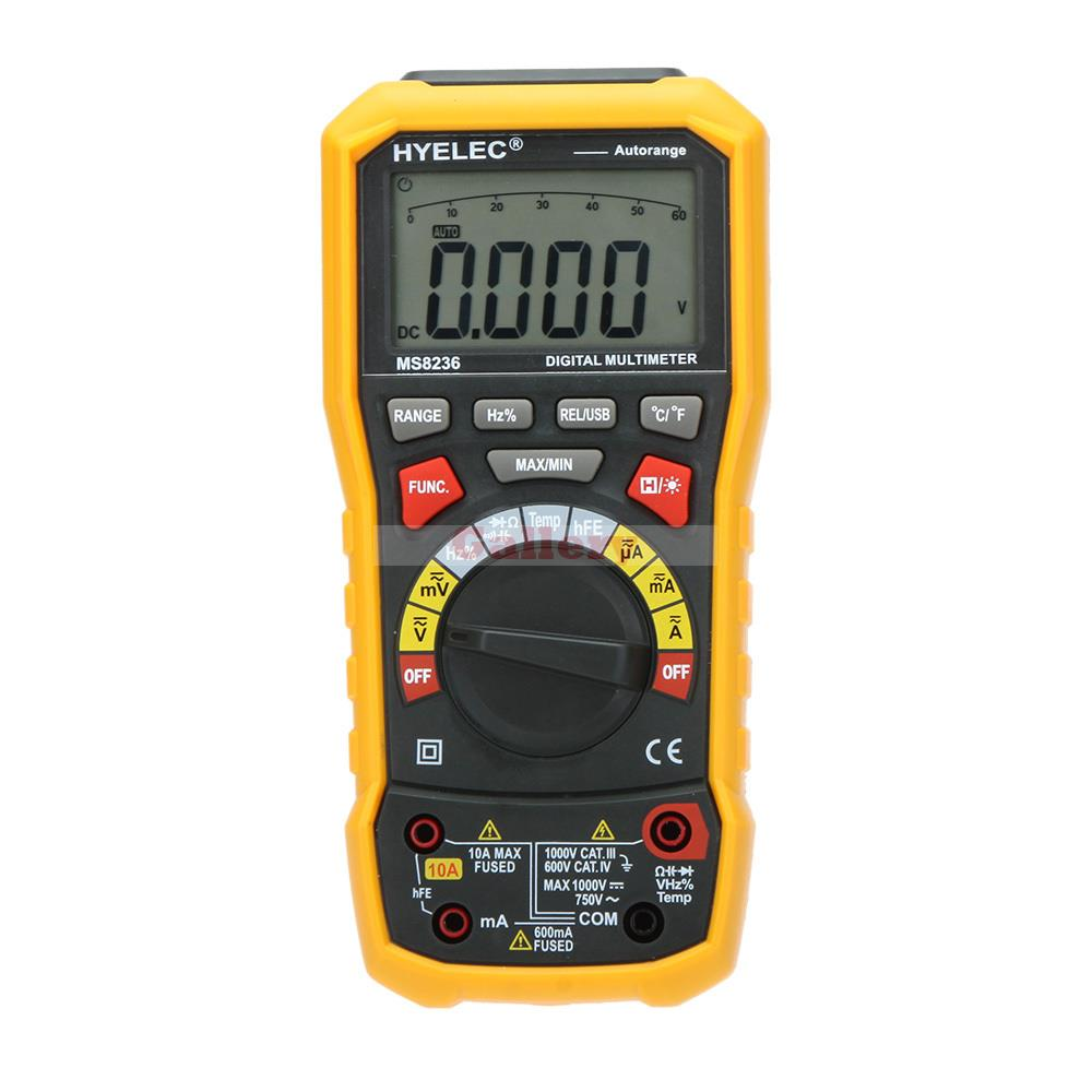 Digital Display Multimeter Hyelec Ms8236 Auto Range Power Off with Temperature Test And Data Logger Termometro Data Logger multimeter test leads digital auto range