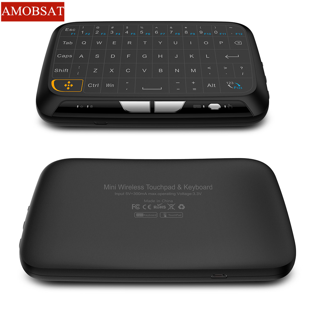 Amobsat H18 Mini Usb 2,4 Ghz Teclado Virtual Inalámbrico Táctil Ratón De Aire De Goma Con Batería De Li Para Pc Xbox 360 Ps4 Tv Box