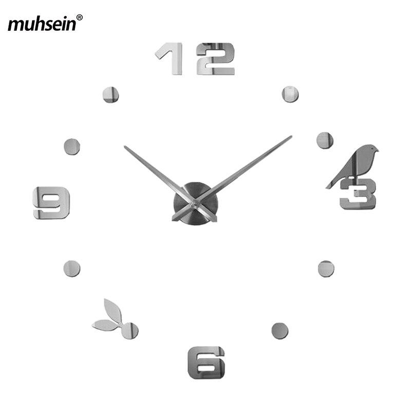 Muhsein 2017 Neue Moderne DIY Schwarze Katze Vogel Quarz Wand Uhren Wohnkultur Wohnzimmer Kreative Spiegel Uhr