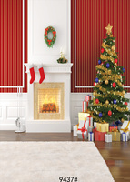 5x7ftChristmas Background Vinyl Photography Backdrops Computer Printed Christmas Tree And Gift Box For Photo Studio Fireplace