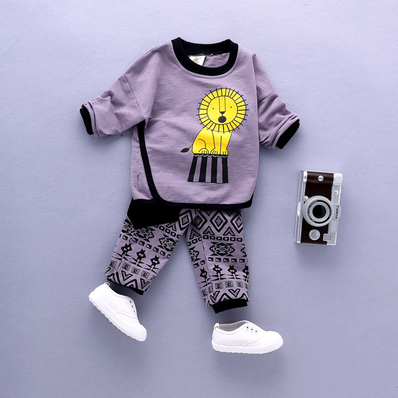 Демисезонный для маленьких мальчиков футболка + штаны, 2 предмета милый мультфильм печати Костюмы комплект мода новорожденных Твердые длин...