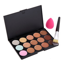 New Arrival 15 Color Professional Concealer Palette+Makeup Brush+Sponge Puff Makeup Contour Palettes Cream Contouring Make Up