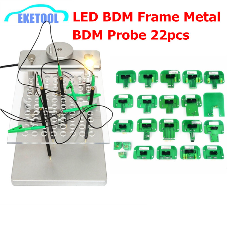 New Full Set LED BDM Frame Metal Stainless Steel 2 IN 1 With BDM Probe 22pcs Adapters BDM FRAME For KTAG KESS FGTECH ECU Remap