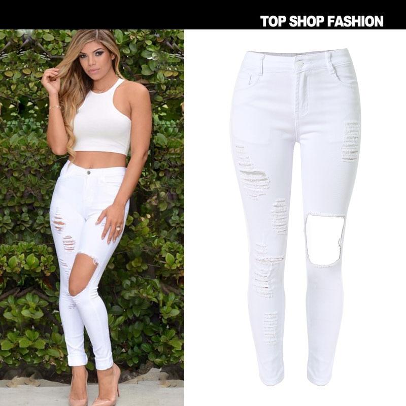 European Hot Street Styles women's High Wait Slim White Skinny Jeans Big Knee Hole Elastic ripped denim pants