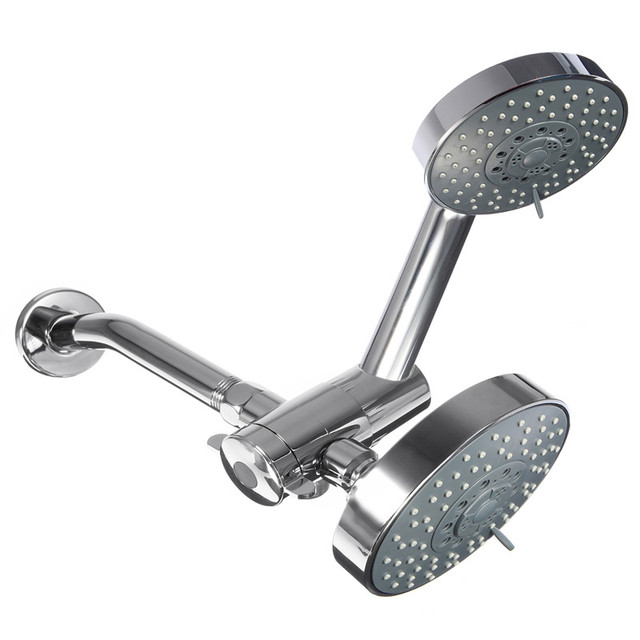 High Quality 5 Function Dual Handheld Shower Head Combo System Brushed Nickel Water Saving Rainfall