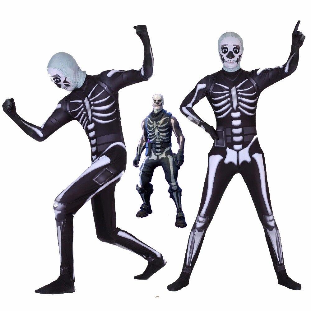 Хэллоуин диффузный вечерние крепость ночь череп trooper Скелет Косплэй Зентаи Костюм Комбинезон взрослых/Дети