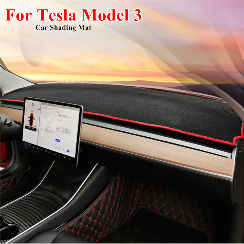 For Tesla Model 3 Dashboard Cover Mats Avoid Light Pad Instrument Platform Desk Carpets For Tesla Model3 2018 2019 2020